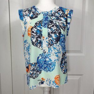J Crew Factory Sleeveless Shell w Floral Print SP